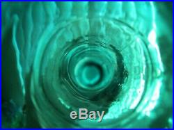 Retro Vintage Teal Green Butterfly Italian Art Glass Genie Bottle Decanter