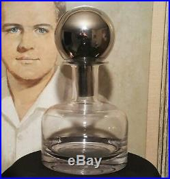 SPACE BALL vtg mcm spaceage atomic chrome glass barware decanter mirror pop art