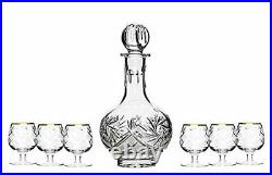 Set of 7 12-Oz Vintage Cut Crystal Liquor Decanter Set with 6 Shot Glasses (3)