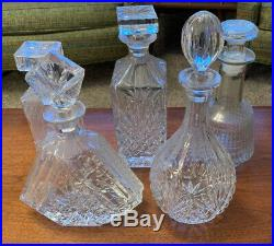 Set of Vintage Glass Liquor Decanters Clear Glass Bottles Lot of 5 With Stoppers