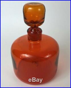 Signed Blenko Tangerine Orange Vintage Mid Century Modern Glass Decanter
