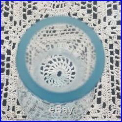 Signed Rare Vintage V. Nason & C Murano Blue Glass Decanter with Amber Stopper