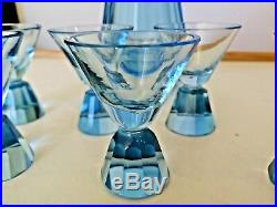 Stunning Crystal Decanter Etched Full Set6 Glasses Art Deco Antique 1920 Vintage