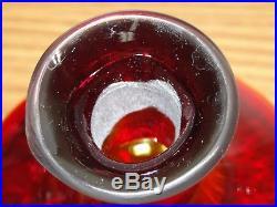 Stunning Vintage Blenko Art Glass Decanter, Bottle-Ruby Red, Amberina Stopper
