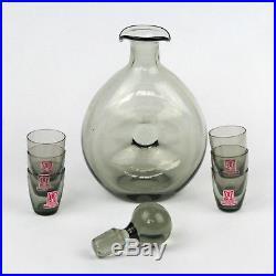 Swedish Art Smoked Grey Glass Decanter & Glasses Vintage RONALD STENNETT WILLSON