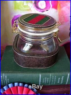 Ultra RARE Vintage GUCCI Glass Jar Cache Barware Service Piece Humidor GG withBox