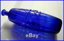 VINTAGE 1960s COBALT BLUE ITALIAN ART GLASS GENIE BOTTLE DECANTERCIRCUS PATTERN