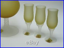 VINTAGE 60's ITALIAN MURANO AMBER FROSTED SATIN GLASS DECANTER + 6 GOBLETS
