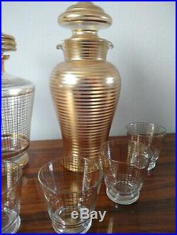 VINTAGE ART DECO DOUBLE DECANTER & SIX MATCHING GLASSES SET CIRCA 1930's