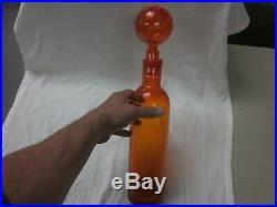 VINTAGE Blenko crackle glass decanter. ORANGE GROUND STOPPER 17.5