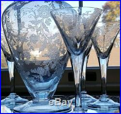 VINTAGE Cambridge Elegant Glass Elaine Decanter and 6 Stemware Glasses/Cordials