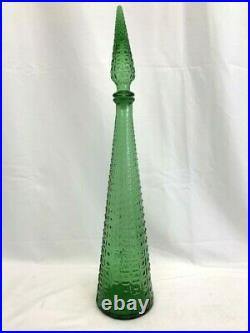 VINTAGE EMPOLI GLASS GENIE BOTTLE DECANTER with STOPPER 21.5 TALL GREEN
