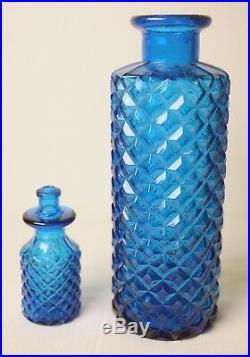VINTAGE ITALIAN EMPOLI AZURE DIAMOND CUT-GLASS DECANTER with STOPPER-FREE POST