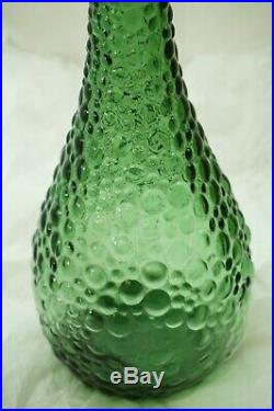VINTAGE ITALIAN GLASS DECANTER WITH STOPPER GENIE BOTTLE GREEN 20in EMPOLI 1960s