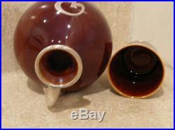 VINTAGE LENOX CAC CHINA STERLING SILVER OVERLAY Rx WHISKEY JUG SHOT GLASS BROWN