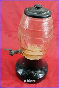 VINTAGE MISSION ORANGE DISPENSER SODA SYRUP DECANTER DEPRESSION GLASS WithBASE