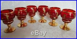 VINTAGE Murano Venetian Ruby Red & 24k Gold Decanter & 6 Glasses Set Gorgeous