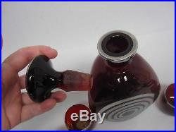 VINTAGE RUBY GLASS PINCH DECANTER & GLASSES w ART DECO SILVER CIRCLES OVERLAY