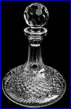 VINTAGE WATERFORD DECANTER ALANA CRYSTAL SHIPS with wood/metal stand IRELAND