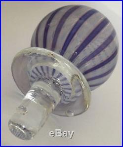 VTG 18 Signed Murano Art Glass Purple / Blue Ribbon Decanter Italy Hand Blown