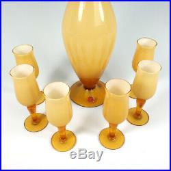 VTG Empoli Italian Art Glass Butterscotch & White Cased Decanter Glasses Label