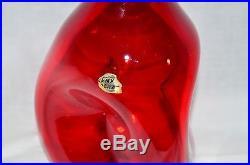 VTG Mid Century Bill Blenko Sr. Design #49 Art Glass Ruby Red Pinch Decanter