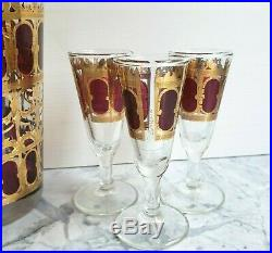 VTG Mid Century CULVER Red Cranberry Gold Decanter Cordial Glasses Barware Set