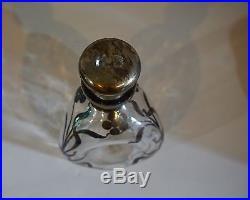 VTG Scottish Pinched Glass Liquor Decanter Scotch Bottle Silver Leaf Etched Dais