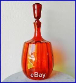 Vintage 15 Blenko #6416 Joel Myers Optic Tangerine Red Decanter Vase