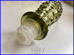 Vintage 16 1/2 Italian Empoli Hobnail Bubble Glass Genie Bottle Taupe Decanter