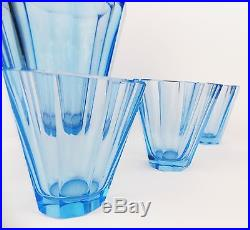 Vintage 1920s Art Deco Drinking set Decanter Curt Faceted Blue MOSER Hoffmann