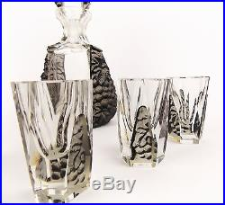 Vintage 1930s Art Deco Drinking set Jablonec Nad Nisou Decanter Curt Schlevogt