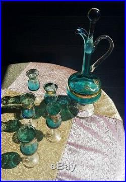 Vintage 1930s Blue gilded Italian Venetian Murano Decanter & glass Set 7 Pc