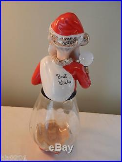 Vintage 1950's Napco Glass Santa Decanter Best Wishes 2PX2767 HTF Rare Christmas