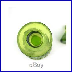 Vintage 1960's Blenko Green Glass Decanter Model # 6924 with Stopper Mid Century