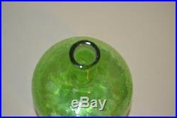 Vintage 1960s Blenko Green Crackle Glass Decanter #657 Joel Myers MCM Glass 14