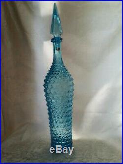 Vintage 21 Rossini Empoli Blue Glass Genie Bottle Decanter Diamond Pattern