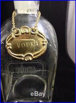 Vintage 4 GLASS LIQUOR DECANTER BOTTLES withStoppers & Labels Crystal Bar Set
