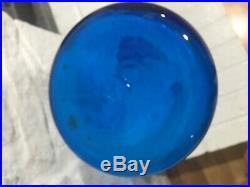 Vintage 50's BLENKO Glass Wayne Husted Large Blue Decanter with Stopper 561 MCM