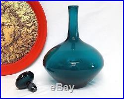 Vintage 60's Blenko Art Glass MID Modern Wayne Husted Turquoise Blue Decanter