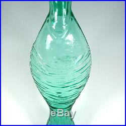 Vintage 60s Blenko Wayne Husted Fish Bottle Flame Stopper MCM Sea Green No 6217