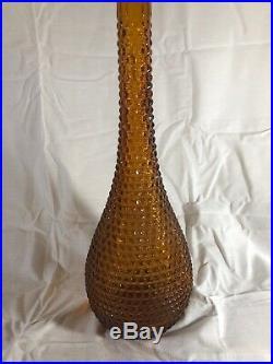 Vintage Amber Italian Glass Empoli Hobnail Genie Bottle Decanter Diamond 22