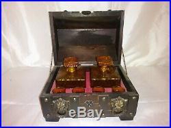 Vintage Amber Whiskey Decanter & Shot Glass Studded Treasure Chest Bar-Ware Set