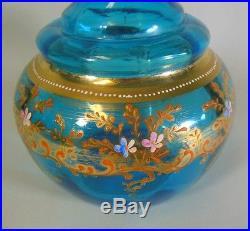 Vintage Antique Bohemia Czech Moser Vase Decanter Gold Raised Enamel Flowers