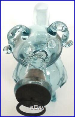 Vintage Antique Hand Blown Aqua Glass Pig Gin Decanter Rare