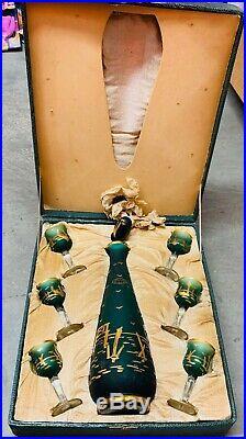 Vintage Aqua Gold Decanter and Glasses Set Italian Hand Blown Venetian Crystal