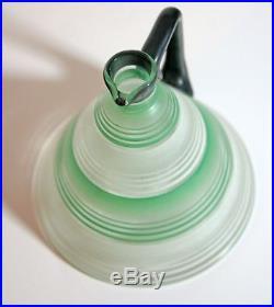 Vintage Art Deco conical decanter & six glasses green, white, black c1930s VGC
