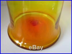 Vintage BLENKO 15+ Amberina Art Glass Bell Shaped Decanter Stopper Orig Label