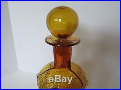 Vintage BLENKO ART GLASS DECANTER Amber Gold Bubble Texture Ball Stopper Retro