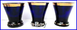 Vintage BOHEMIAN Moser Style COBALT BLUE Enamel Flower Decanter & 6 Glass SET